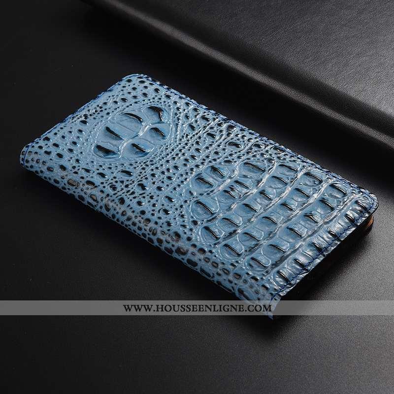 Housse Moto G7 Play Cuir Modèle Fleurie Incassable Étui Bleu Téléphone Portable Crocodile