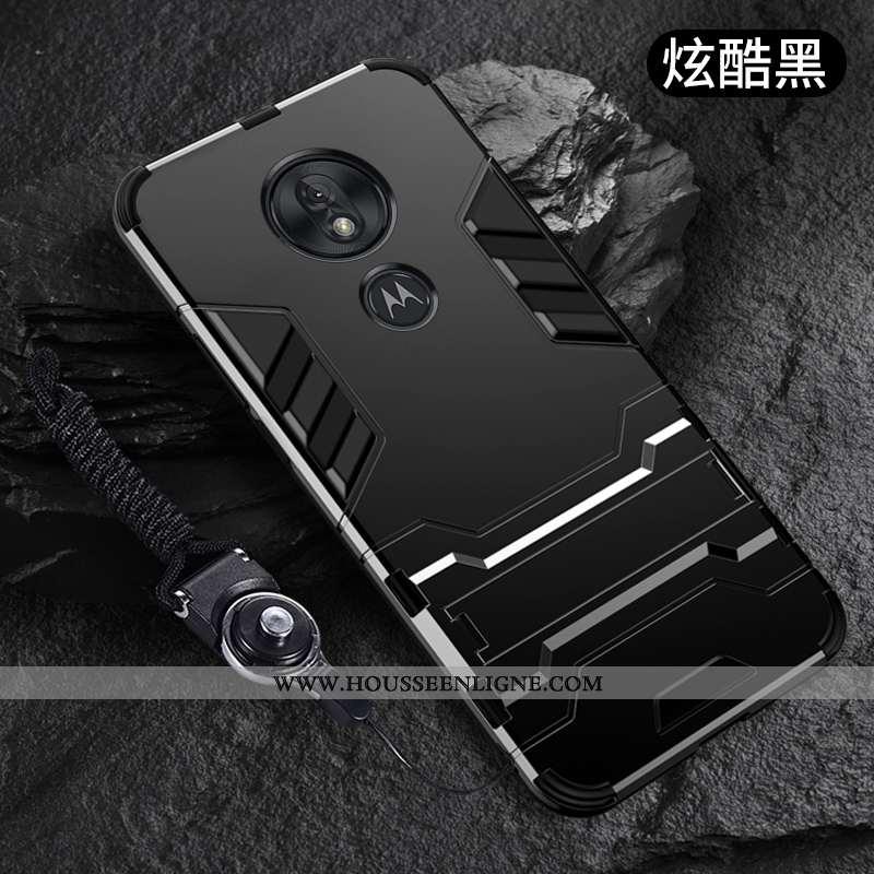 Housse Moto G7 Play Fluide Doux Silicone Téléphone Portable Coque Tout Compris Support Pu Noir