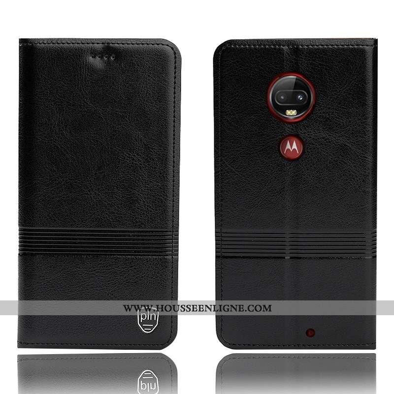 Housse Moto G7 Plus Cuir Véritable Protection Téléphone Portable Incassable Noir Coque Tout Compris