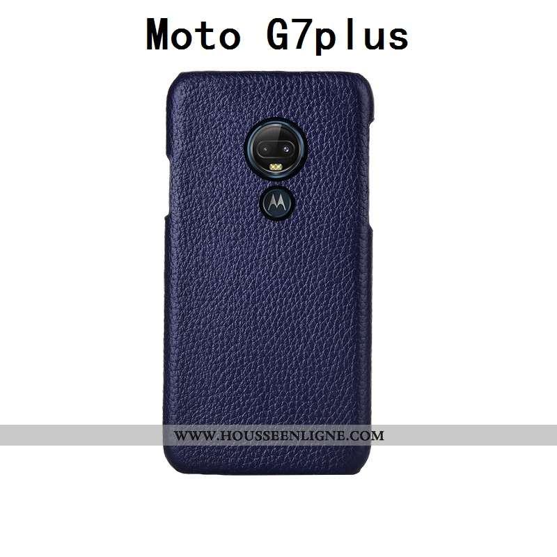 Housse Moto G7 Plus Luxe Personnalité Cuir Cuir Haut Couvercle Arrière Bovins Personnalisé Bleu Fonc