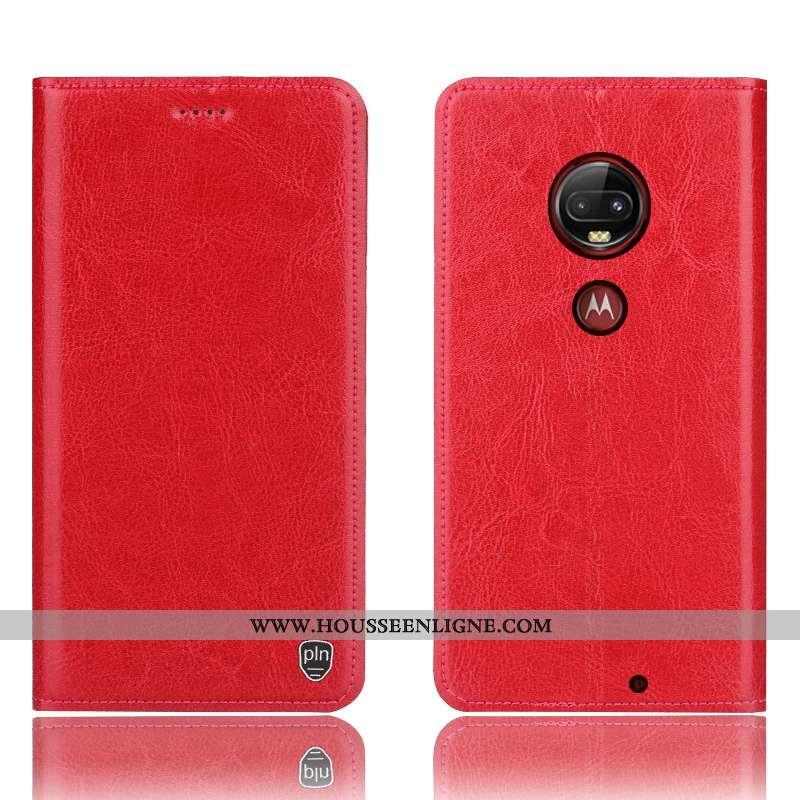 Housse Moto G7 Plus Protection Cuir Véritable Incassable Téléphone Portable Rouge Étui