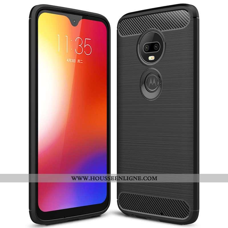 Housse Moto G7 Plus Tendance Fluide Doux Étui Fibre Silicone Téléphone Portable Coque Noir