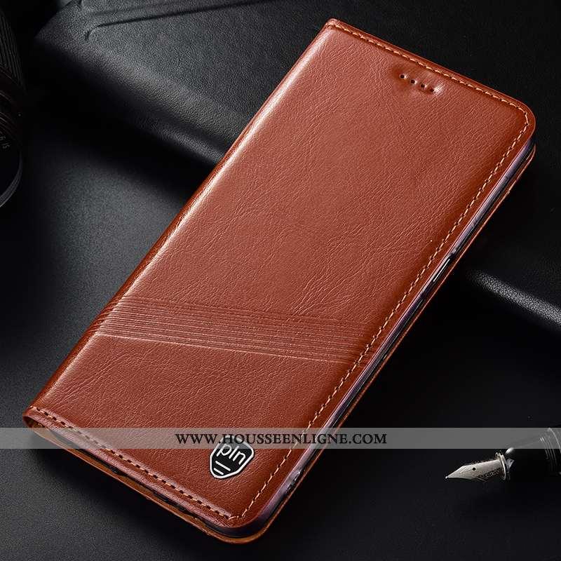 Housse Moto G7 Power Cuir Véritable Protection Europe Incassable Coque Téléphone Portable Marron