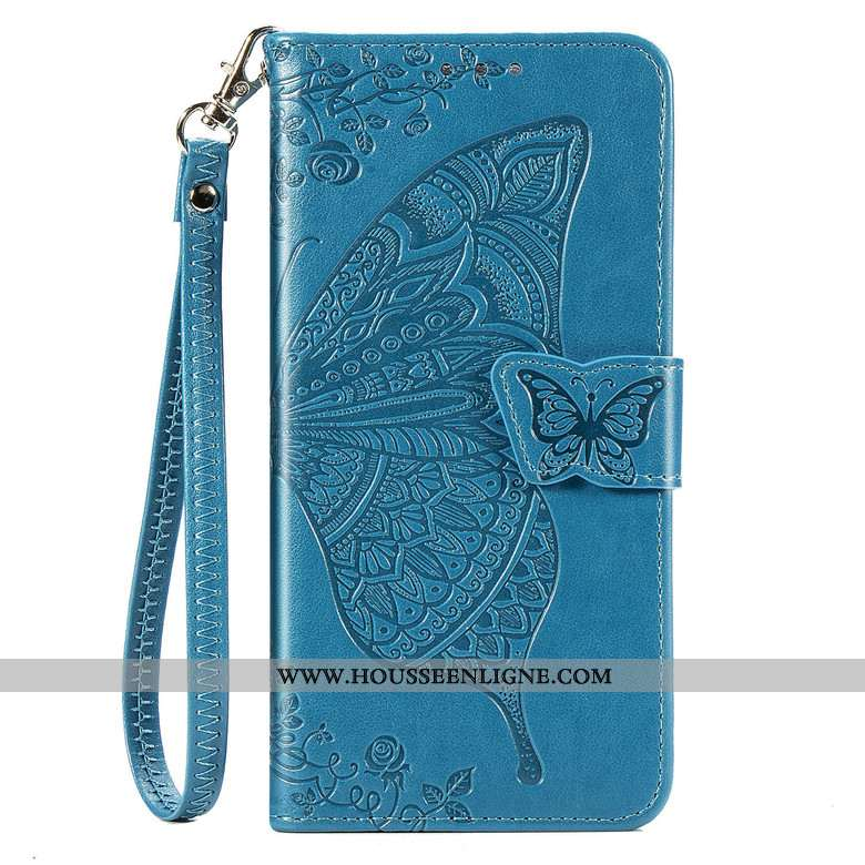 Housse Moto G8 Plus Cuir Protection Téléphone Portable Fleur Étui Bleu
