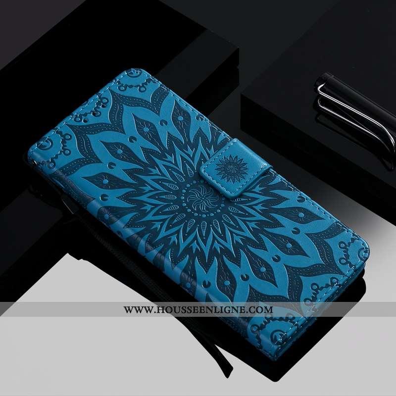 Housse Moto G8 Plus Fluide Doux Protection Carte Simple Étui Téléphone Portable Bleu Foncé