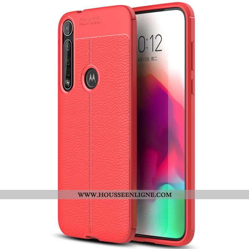Housse Moto G8 Plus Protection Cuir Rouge Étui Tout Compris Simple Téléphone Portable