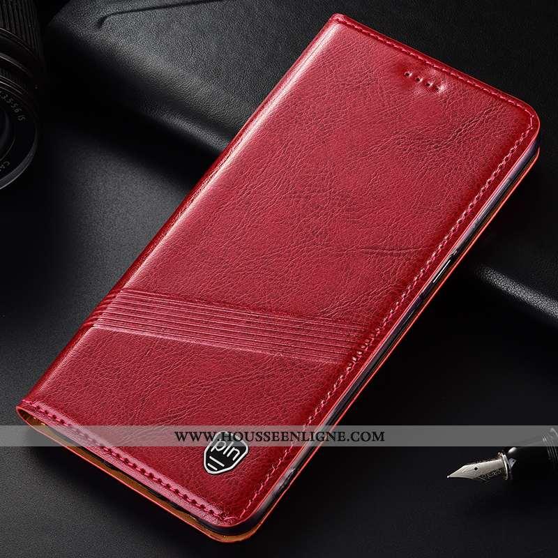 Housse Moto G8 Plus Protection Cuir Véritable Étui Coque Rouge Téléphone Portable
