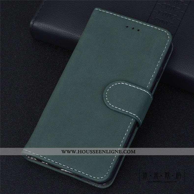 Housse Moto G8 Plus Protection Délavé En Daim Cuir Clamshell Vintage Téléphone Portable Coque Verte