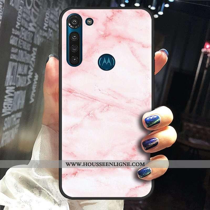 Housse Moto G8 Power Délavé En Daim Tendance Fluide Doux Téléphone Portable Rose Pu Coque