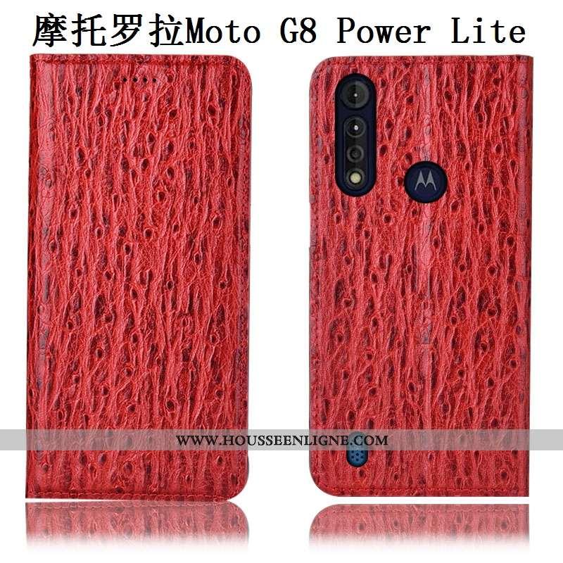 Housse Moto G8 Power Lite Modèle Fleurie Protection Étui Cuir Véritable Téléphone Portable Incassabl