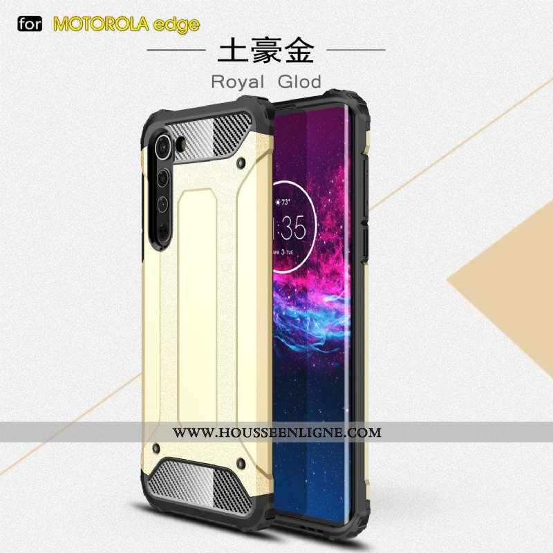 Housse Motorola Edge Étui Épaissir Téléphone Portable Trois Défenses Incassable Or Difficile Doré