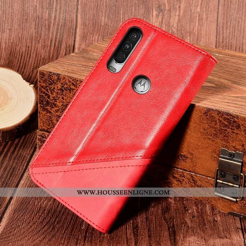 Housse Motorola One Action Cuir Protection Support Étui Carte Rouge Incassable
