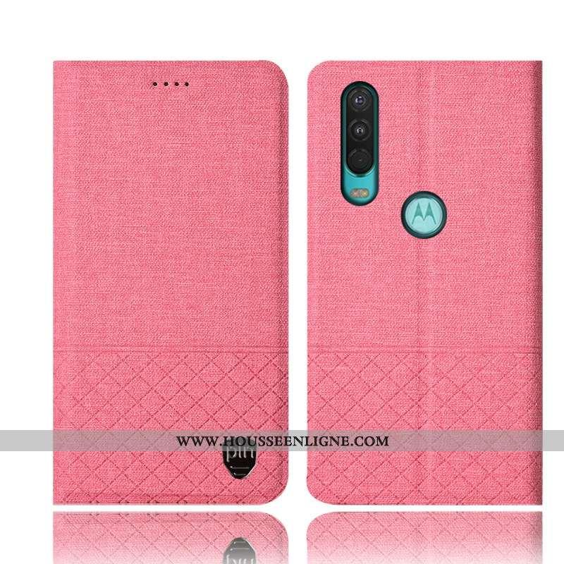Housse Motorola One Action Protection Cuir Incassable Étui Tout Compris Téléphone Portable Rose
