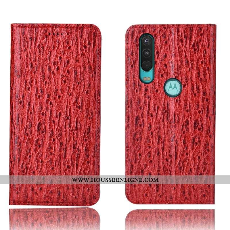 Housse Motorola One Action Protection Cuir Véritable Étui Coque Téléphone Portable Tout Compris Roug