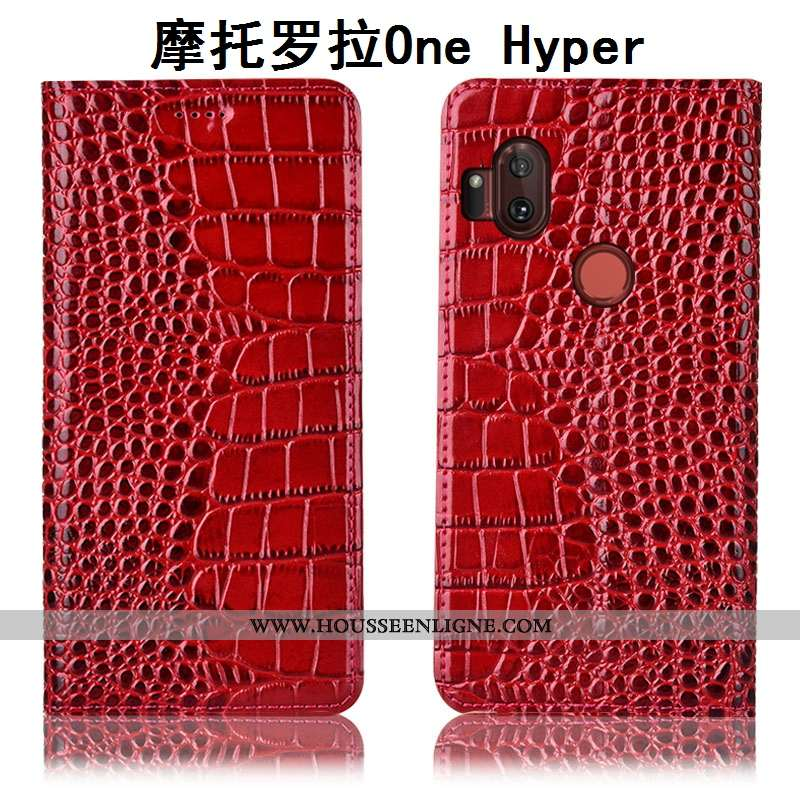 Housse Motorola One Hyper Cuir Véritable Protection Étui Téléphone Portable Rouge Tout Compris
