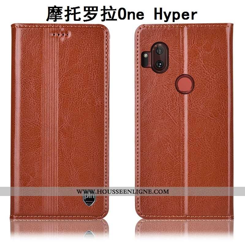Housse Motorola One Hyper Cuir Véritable Protection Téléphone Portable Étui Coque Incassable Marron
