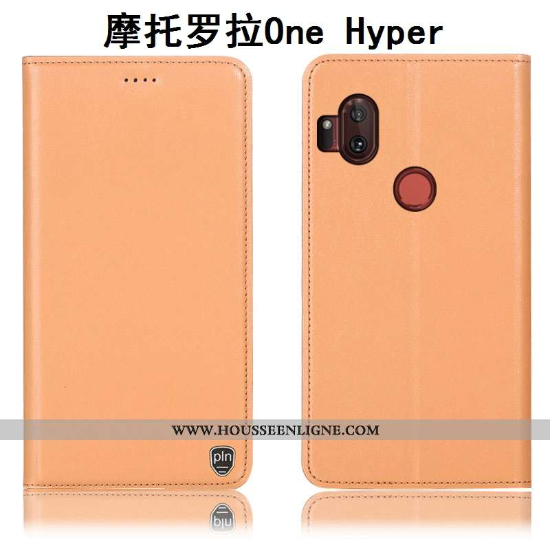 Housse Motorola One Hyper Modèle Fleurie Protection Incassable Cuir Véritable Orange Étui