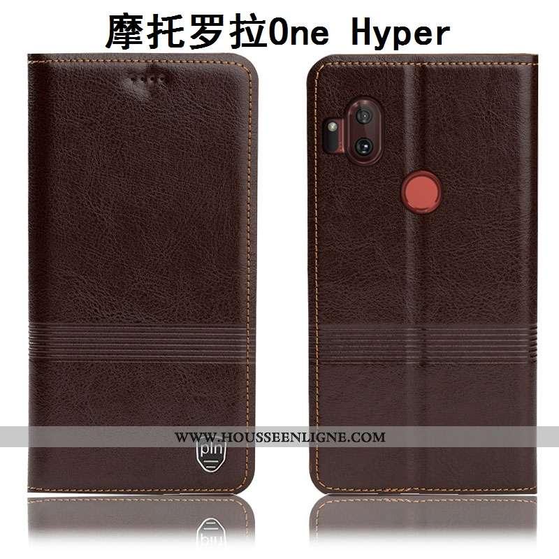 Housse Motorola One Hyper Protection Cuir Véritable Étui Téléphone Portable Tout Compris Incassable