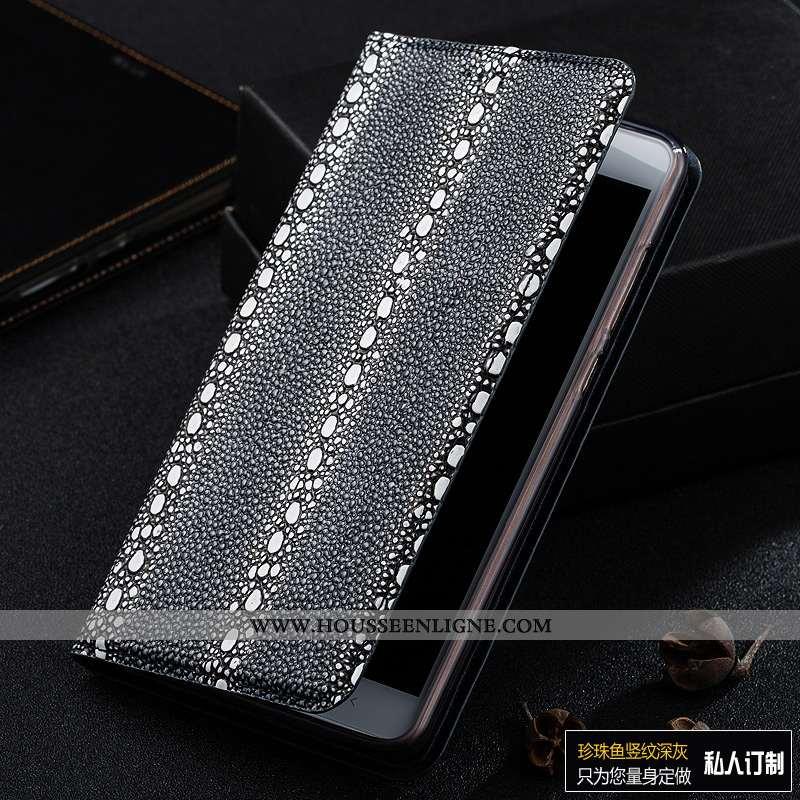Housse Motorola One Vision Cuir Véritable Protection Incassable Téléphone Portable Perle Gris Étui