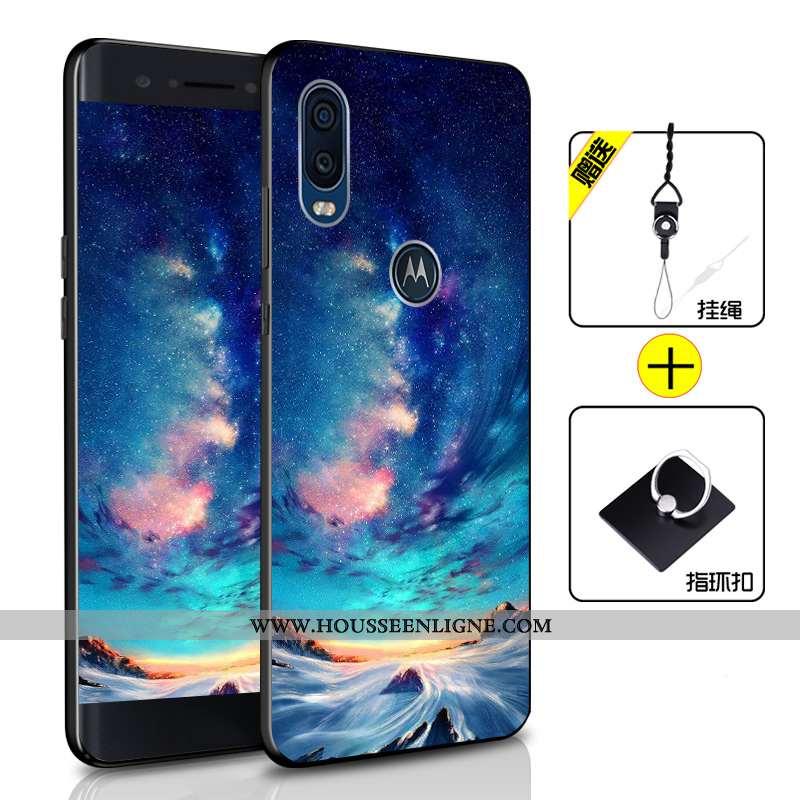 Housse Motorola One Vision Fluide Doux Silicone Coque Incassable Téléphone Portable Bleu Tout Compri