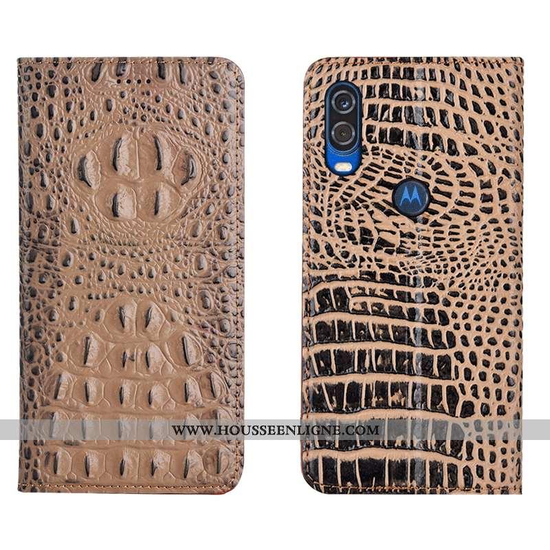 Housse Motorola One Vision Protection Cuir Véritable Crocodile Tout Compris Coque Étui Marron