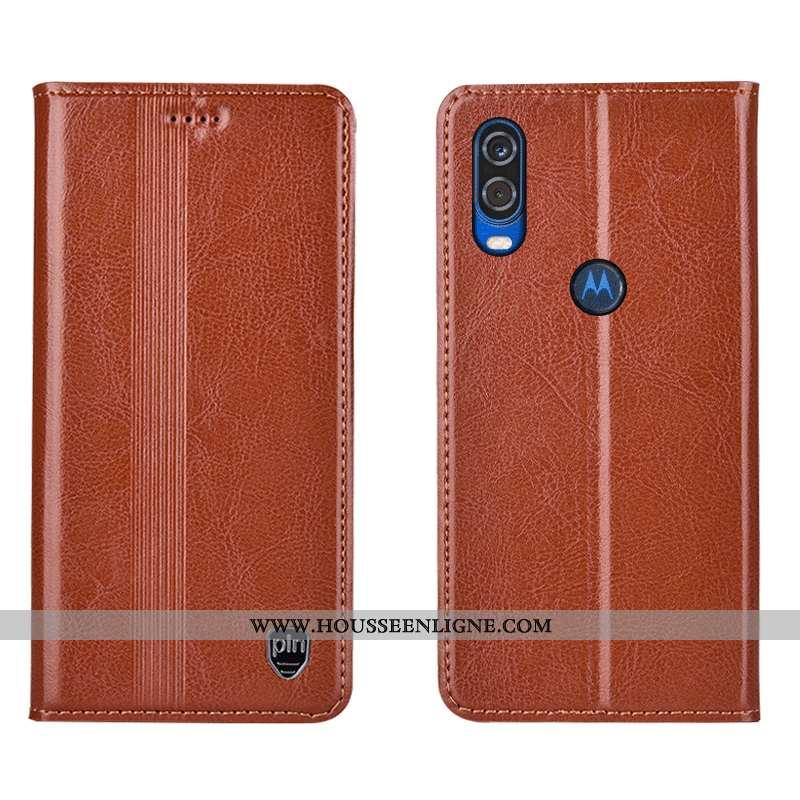 Housse Motorola One Vision Protection Cuir Véritable Téléphone Portable Coque Tout Compris Étui Marr