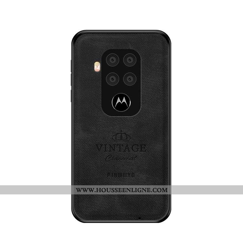 Housse Motorola One Zoom Légère Délavé En Daim Ultra Luxe Tissu Noir Coque