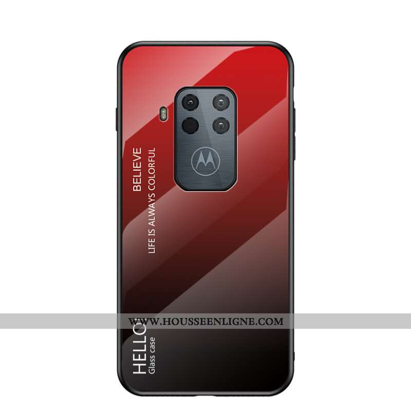 Housse Motorola One Zoom Protection Verre Net Rouge Étui Tendance Difficile Tout Compris