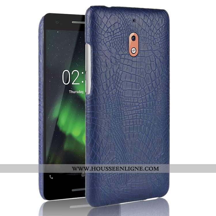 Housse Nokia 2.1 Protection Modèle Fleurie Étui Crocodile Téléphone Portable Coque Difficile Bleu Fo