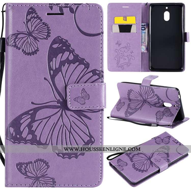 Housse Nokia 2.1 Silicone Cuir Fluide Doux Téléphone Portable Étui Clamshell Coque Violet