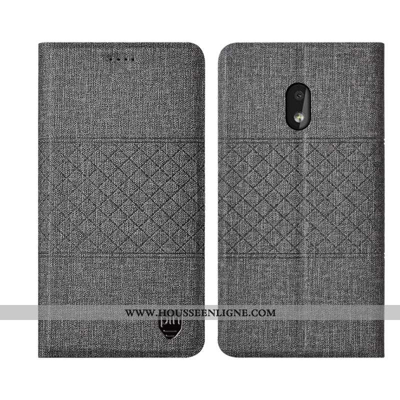Housse Nokia 2.2 Cuir Protection Gris Coque Téléphone Portable Lin