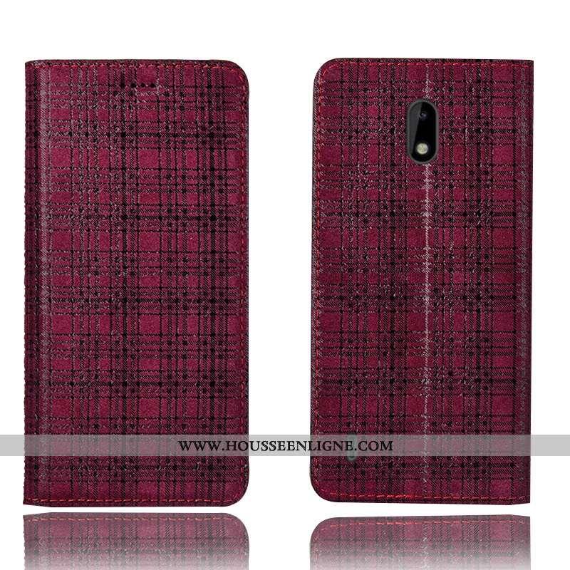 Housse Nokia 2.2 Cuir Véritable Protection Étui Velours Incassable Tout Compris Coque Bordeaux