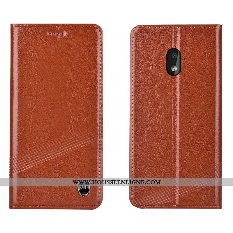 Housse Nokia 2.2 Cuir Véritable Protection Incassable Étui Coque Téléphone Portable Marron