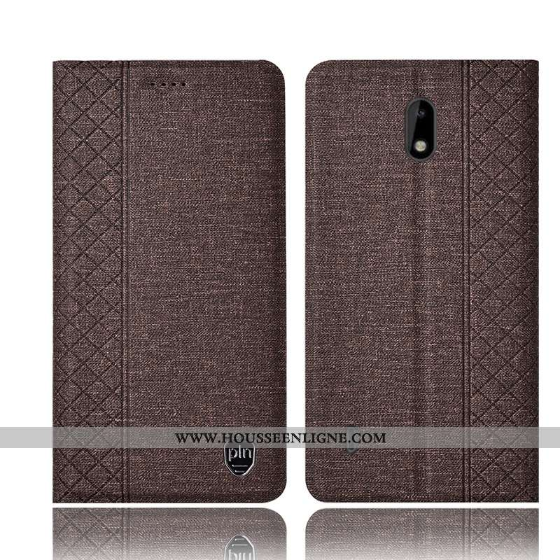 Housse Nokia 2.2 Protection Cuir Coque Incassable Marron Lin