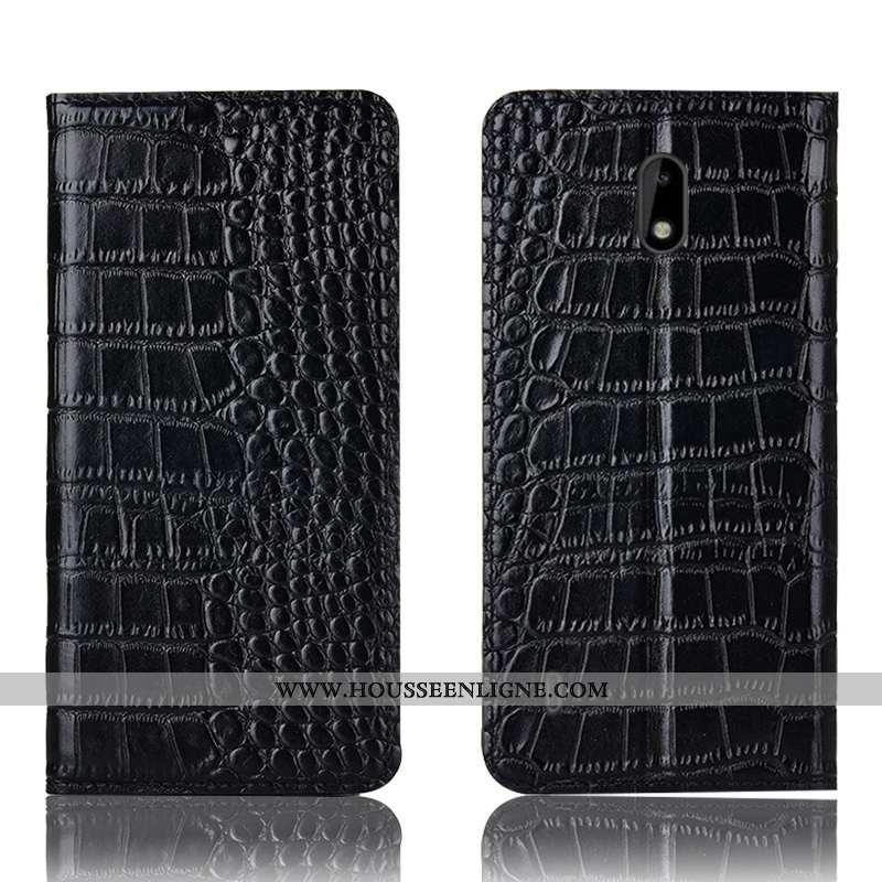 Housse Nokia 2.2 Protection Cuir Véritable Noir Téléphone Portable Crocodile Incassable Étui