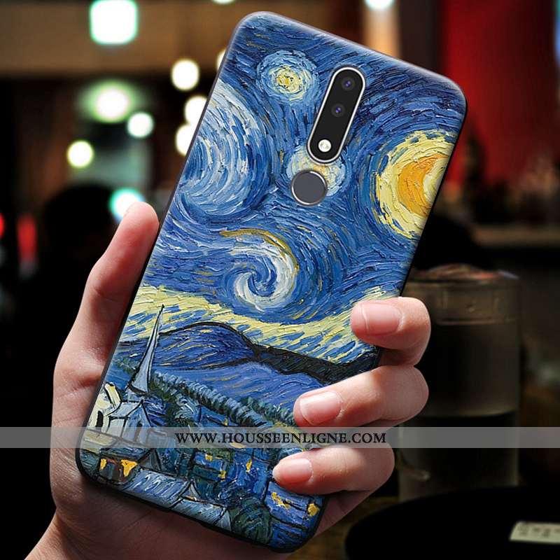 Housse Nokia 3.1 Plus Gaufrage Dessin Animé Bleu Téléphone Portable Coque Étui Ornements Suspendus