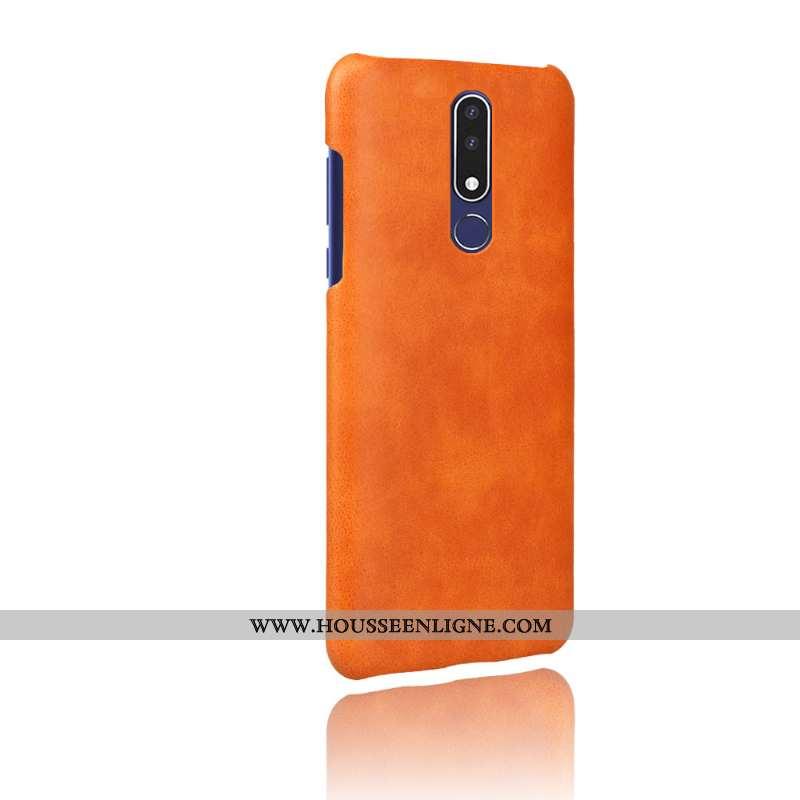 Housse Nokia 3.1 Plus Modèle Fleurie Protection Étui Téléphone Portable Couleur Unie Coque Orange