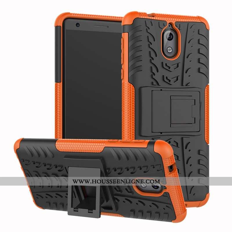 Housse Nokia 3.1 Protection Silicone Difficile Trois Défenses Téléphone Portable Étui Orange