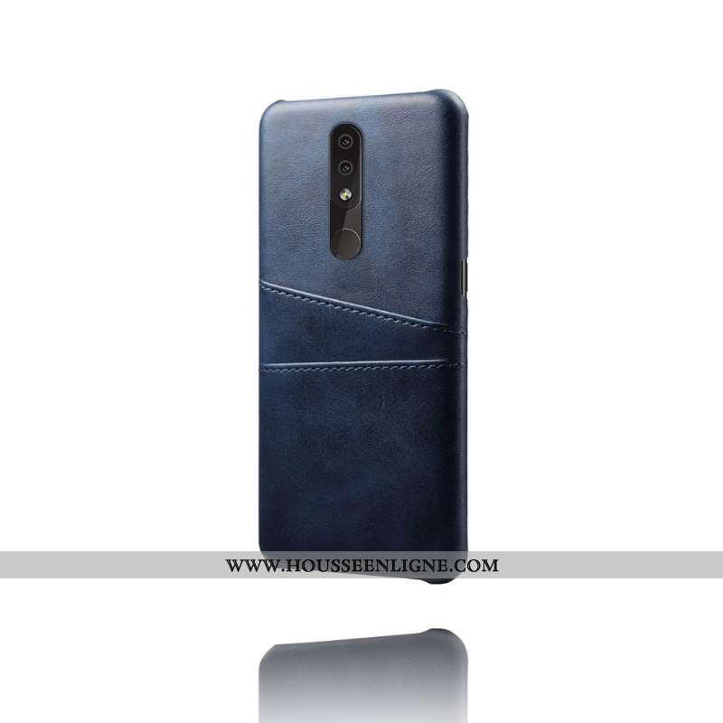 Housse Nokia 4.2 Cuir Protection Tendance Téléphone Portable Coque Incassable Bleu Marin Bleu Foncé