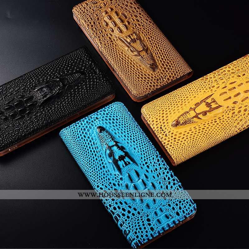 Housse Nokia 4.2 Cuir Véritable Protection Crocodile Jaune Coque Téléphone Portable