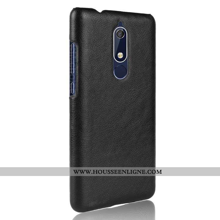 Housse Nokia 5.1 Créatif Cuir Difficile Téléphone Portable Modèle Fleurie Étui Protection Noir