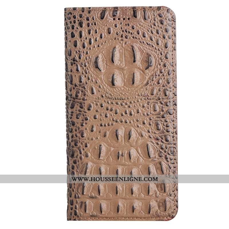Housse Nokia 5.1 Cuir Véritable Protection Téléphone Portable Étui Coque Kaki Khaki