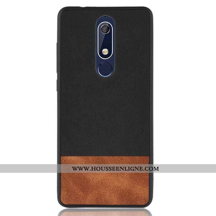 Housse Nokia 5.1 Délavé En Daim Fluide Doux Coque Silicone Incassable Tout Compris Noir