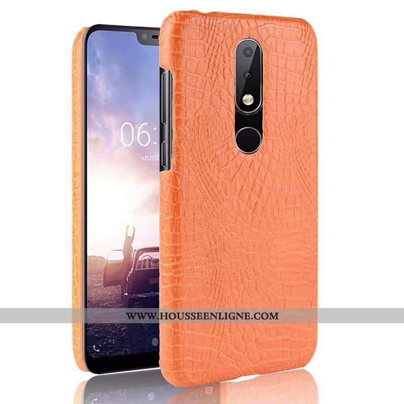 Housse Nokia 5.1 Plus Cuir Modèle Fleurie Protection Qualité Crocodile Étui Coque Orange