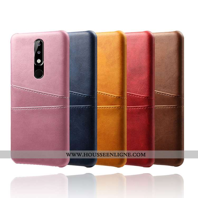 Housse Nokia 5.1 Plus Cuir Protection Téléphone Portable Carte Rose Coque Étui