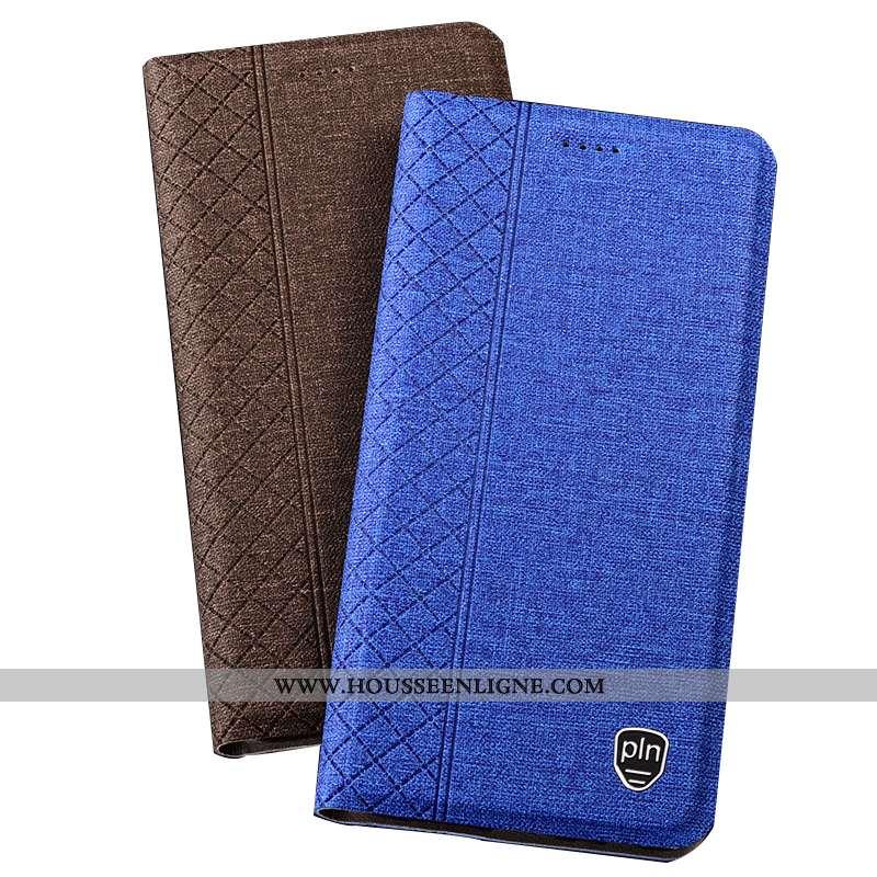 Housse Nokia 5.1 Plus Protection Étui Téléphone Portable Coque Lin Bleu Plaid