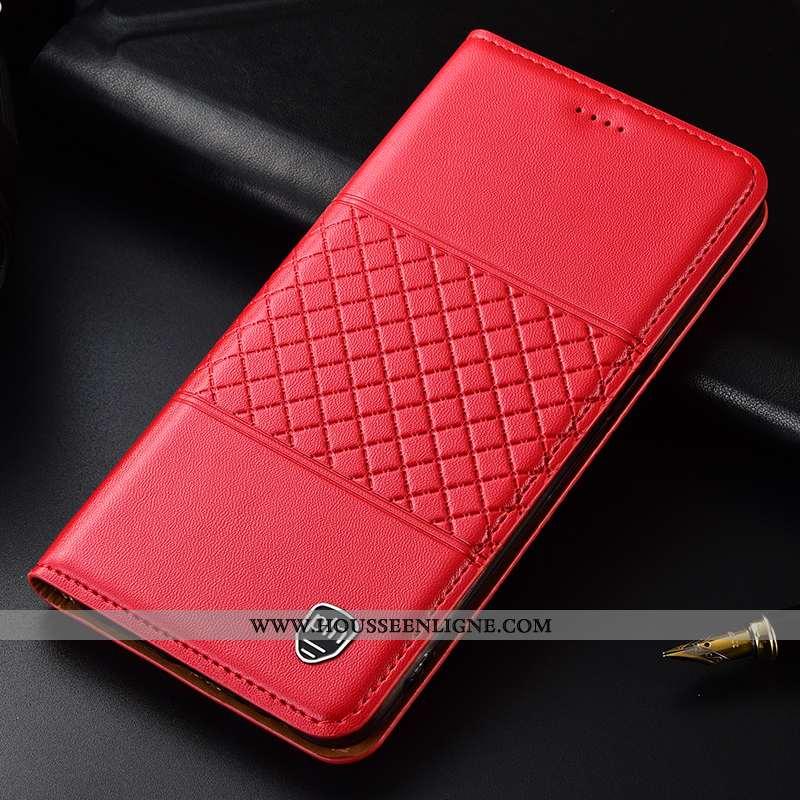 Housse Nokia 5.1 Plus Protection Cuir Véritable Plaid Étui Téléphone Portable Rouge Coque