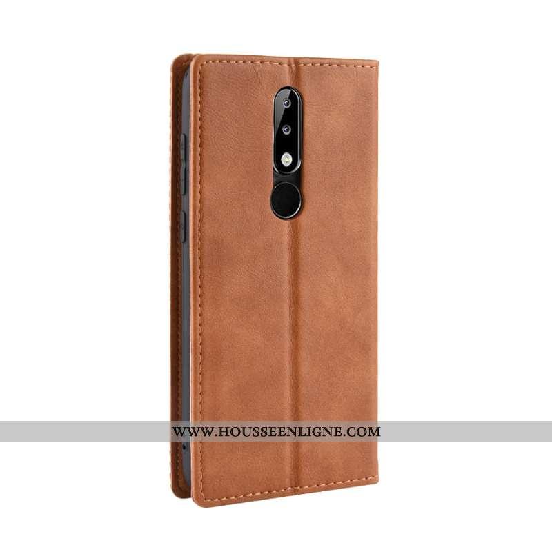 Housse Nokia 5.1 Plus Protection Vintage Incassable Modèle Fleurie Téléphone Portable Cuir Carte Mar