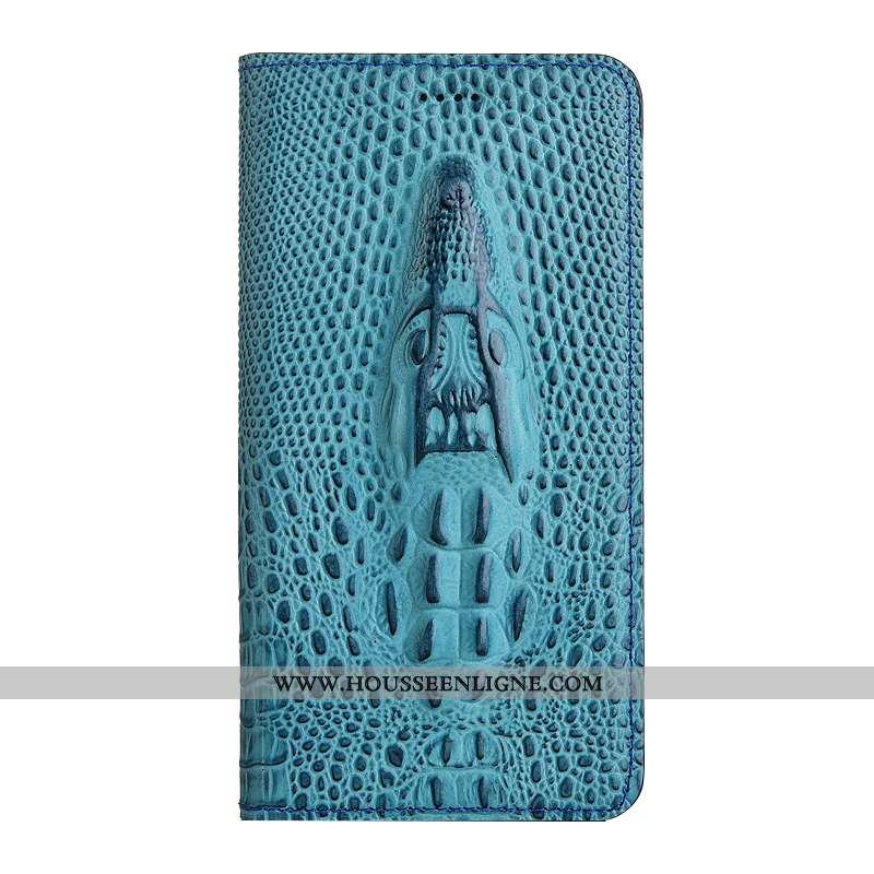 Housse Nokia 5.1 Protection Cuir Véritable Téléphone Portable Coque Étui Bleu