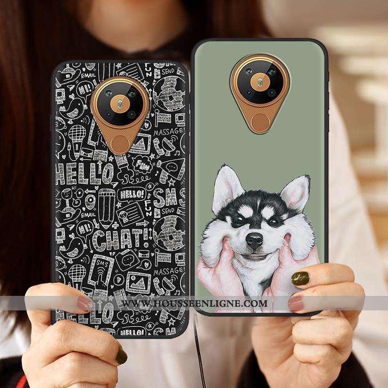 Housse Nokia 5.3 Dessin Animé Charmant Créatif Étui Téléphone Portable Pu Peinture Noir